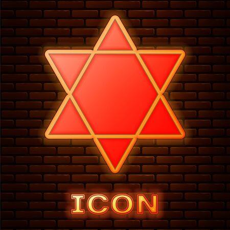 Glowing neon Star of David icon isolated on brick wall background. Jewish religion symbol. Symbol of Israel. Vector Illustration
