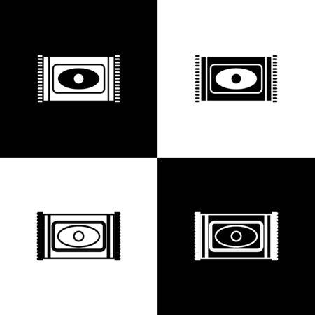 Set Traditional carpet culture ramadan arabic islamic celebration icon isolated on black and white background. Vector Illustration