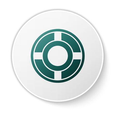 Green Ashtray icon isolated on white background. White circle button. Vector Illustration Illustration