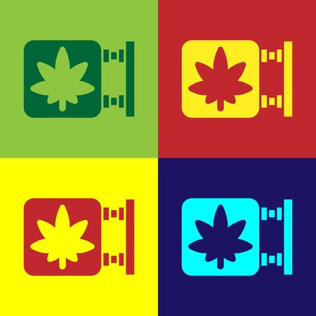 Pop art Marijuana and cannabis store icon isolated on color background. Equipment and accessories for smoking, storing medical cannabis. Vector Illustration