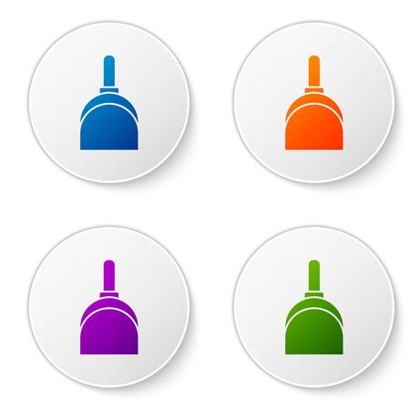 Color Dustpan icon isolated on white background. Cleaning scoop services. Set icons in circle buttons. Vector Illustration