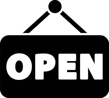 Black Hanging sign with text Open door icon isolated on white background.  Vector Illustration