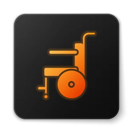 Orange glowing neon Wheelchair for disabled person icon isolated on white background. Black square button. Vector Illustration