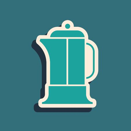 Green French press icon isolated on green background. Long shadow style. Vector Illustration