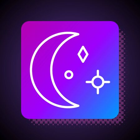 White line Moon and stars icon isolated on black background. Cloudy night sign. Sleep dreams symbol. Night or bed time sign. Square color button. Vector Illustration Ilustração Vetorial