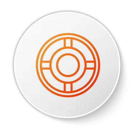Orange line Ashtray icon isolated on white background. White circle button. Vector Illustration