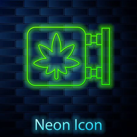 Glowing neon line Marijuana and cannabis store icon isolated on brick wall background. Equipment and accessories for smoking, storing medical cannabis. Vector Illustration