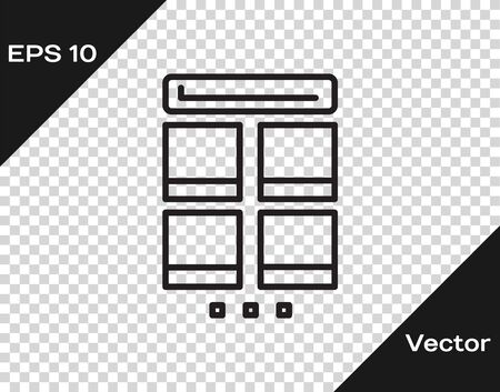Black line Online shopping on mobile phone icon isolated on transparent background. Internet shop, mobile store app and payments billing. Vector Illustration Illustration