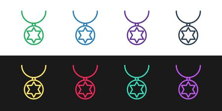 Set line Star of David necklace on chain icon isolated on black and white background. Jewish religion. Symbol of Israel. Jewellery and accessory. Vector Illustration