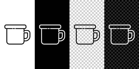 Set line Camping metal mug icon isolated on black and white background. Vector Illustration