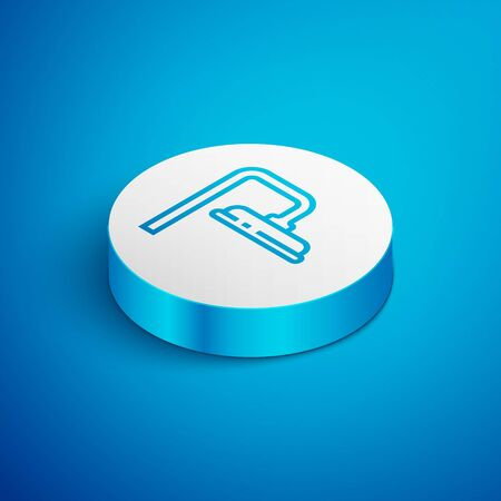 Isometric line Shower head with water drops flowing icon isolated on blue background. White circle button. Vector Illustration