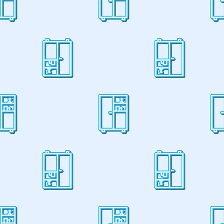 Blue line Medicine cabinet icon isolated seamless pattern on grey background.  Vector Illustration Vectores
