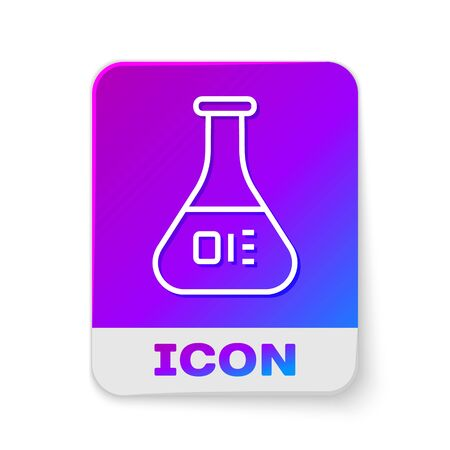 White line Test tube and flask chemical laboratory test icon isolated on white background. Laboratory glassware sign. Rectangle color button. Vector Illustration