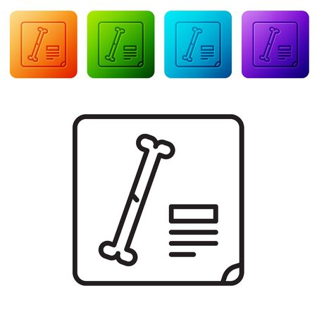 Black line X-ray shots icon isolated on white background. Set icons in color square buttons. Vector Illustration