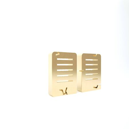 Gold The commandments icon isolated on white background. Gods law concept. 3d illustration 3D render