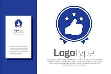 Blue Consumer or customer product rating icon isolated on white background. Logo design template element. Vector Illustration