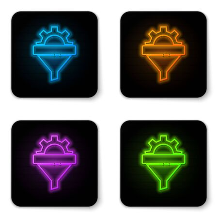 Glowing neon Sales funnel with arrows for marketing and startup business icon isolated on white background. Infographic template. Black square button. Vector Illustration