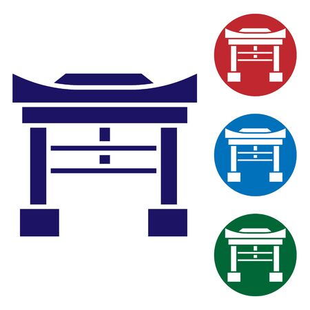 Blue Japan Gate icon isolated on white background. Torii gate sign. Japanese traditional classic gate symbol. Set icons in color square buttons. Vector Illustration