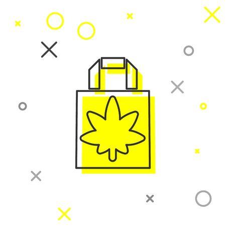 Grey line Shopping paper bag of medical marijuana or cannabis leaf icon isolated on white background. Buying cannabis. Hemp symbol. Vector Illustration