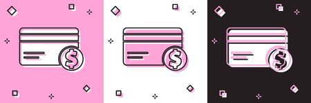 Set Credit card and dollar symbol icon isolated on pink and white, black background. Online payment. Cash withdrawal. Financial operations. Vector Illustration