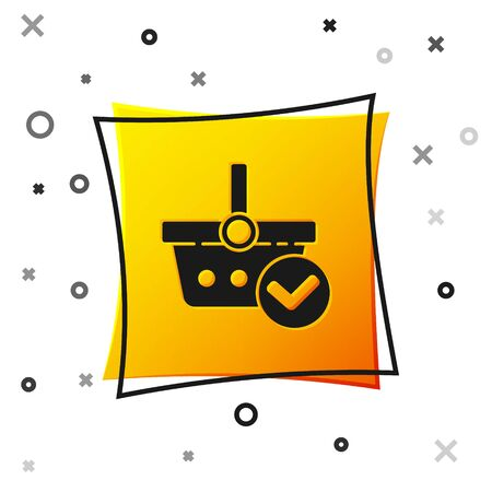 Black Shopping basket with check mark icon isolated on white background. Supermarket basket with approved, confirm, tick, completed. Yellow square button. Vector Illustration