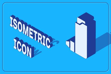 Isometric Inhaler icon isolated on blue background. Breather for cough relief, inhalation, allergic patient. Vector Illustration