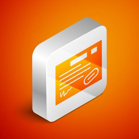 Isometric Warranty certificate template icon isolated on orange background. Silver square button. Vector Illustration Ilustrace