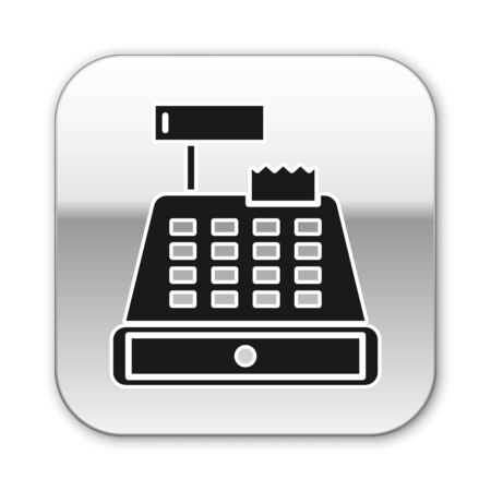 Black Cash register machine with a check icon isolated on white background. Cashier sign. Cashbox symbol. Silver square button. Vector Illustration