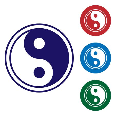 Blue Yin Yang symbol of harmony and balance icon isolated on white background. Set icons in color square buttons. Vector Illustration