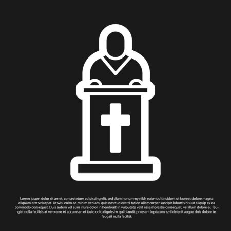 Black Church pastor preaching icon isolated on black background. Vector Illustration Vectores