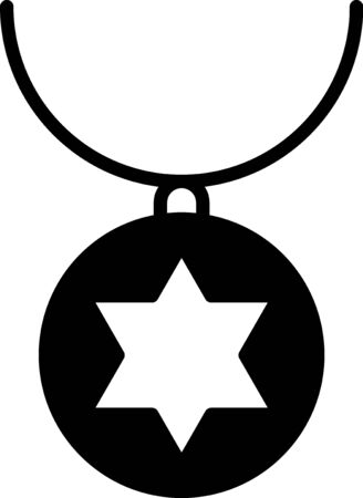 Black Star of David necklace on chain icon isolated on white background. Jewish religion. Symbol of Israel. Jewellery and accessory. Vector Illustration Illustration