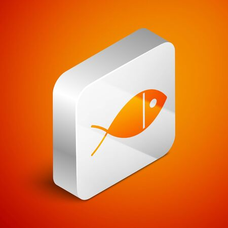 Isometric Christian fish symbol icon isolated on orange background. Jesus fish symbol. Silver square button. Vector Illustration
