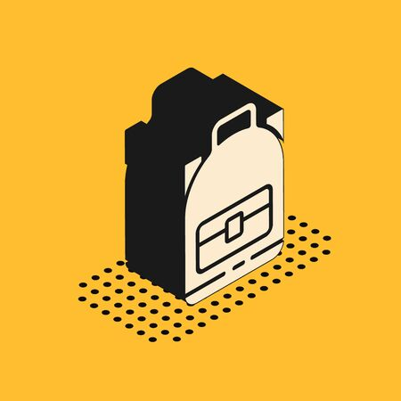 Isometric Hiking backpack icon isolated on yellow background. Camping and mountain exploring backpack. Vector Illustration