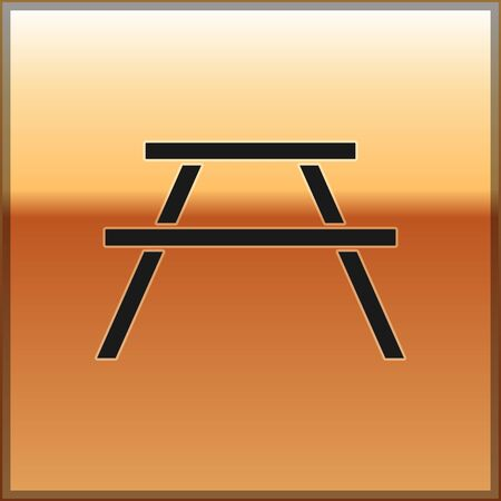 Black Picnic table with benches on either side of the table icon isolated on gold background. Vector Illustration