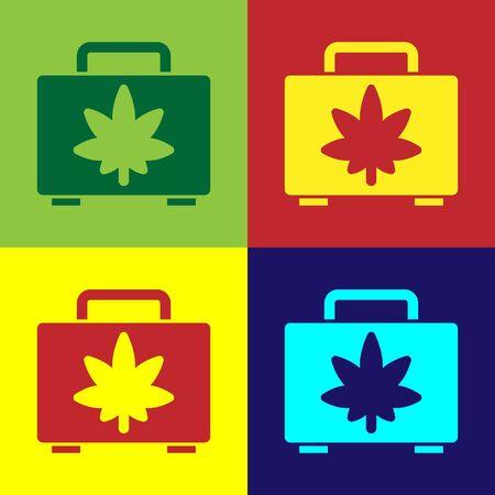 Pop art Shopping box of medical marijuana or cannabis leaf icon isolated on color background. Buying cannabis. Hemp symbol. Vector Illustration