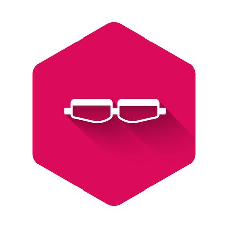 White Safety goggle glasses icon isolated with long shadow. Pink hexagon button. Vector Illustration