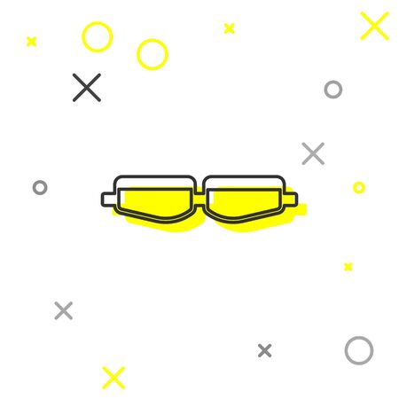 Grey line Safety goggle glasses icon isolated on white background. Vector Illustration