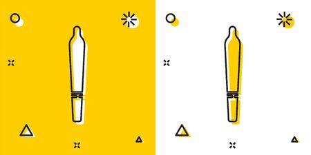 Black Marijuana joint, spliff icon isolated on yellow and white background. Cigarette with drug, marijuana cigarette rolled. Random dynamic shapes. Vector Illustration