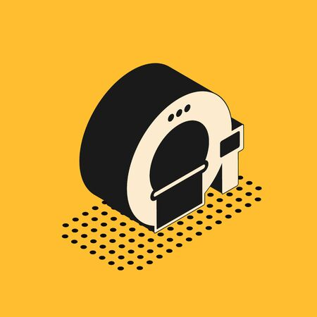 Isometric Tomography icon isolated on yellow background. Medical scanner, radiation. Diagnosis, radiology, magnetic resonance therapy. Vector Illustration