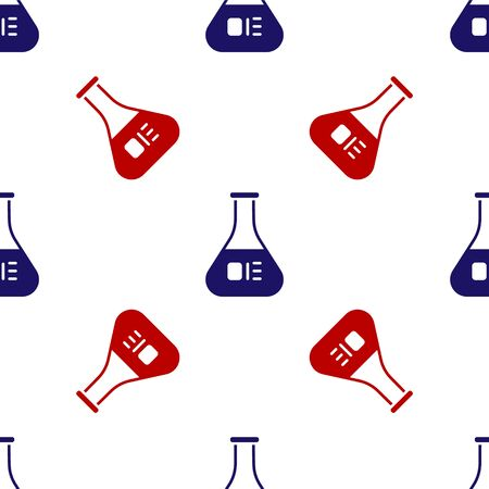 Blue and red Test tube and flask chemical laboratory test icon isolated seamless pattern on white background. Laboratory glassware sign. Vector Illustration