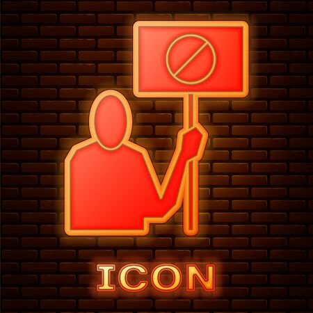 Glowing neon Nature saving protest icon isolated on brick wall background. Earth planet protection, environmental issues demonstration. Vector Illustration Illustration
