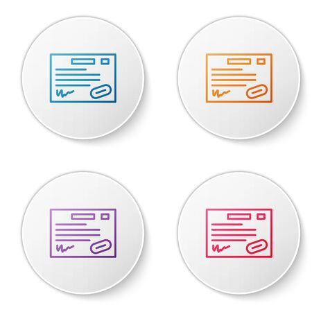 Color line Warranty certificate template icon isolated on white background. Set icons in circle buttons. Vector Illustration