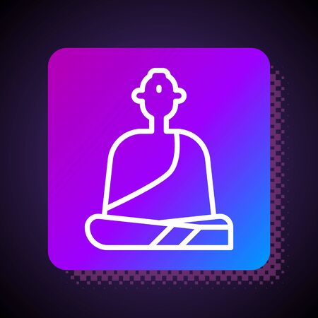 White line Buddhist monk in robes sitting in meditation icon isolated on black background. Square color button. Vector Illustration
