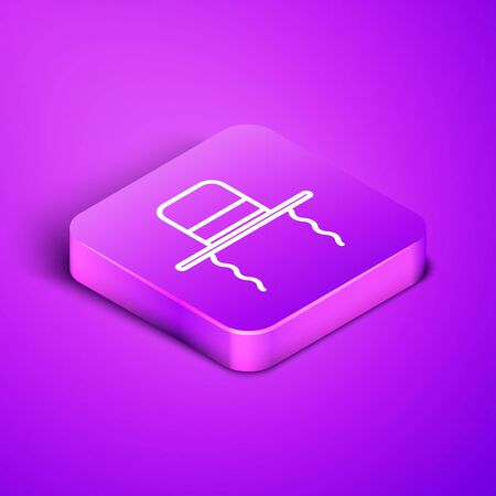 Isometric line Orthodox jewish hat with sidelocks icon isolated on purple background. Jewish men in the traditional clothing. Judaism symbols. Purple square button. Vector Illustration