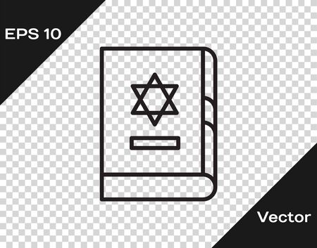 Black line Jewish torah book icon isolated on transparent background. On the cover of the Bible is the image of the Star of David. Vector Illustration Vektorové ilustrace