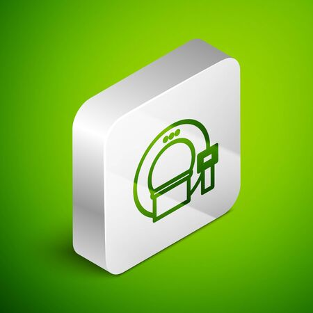 Isometric line Tomography icon isolated on green background. Medical scanner, radiation. Diagnosis, radiology, magnetic resonance therapy. Silver square button. Vector Illustration