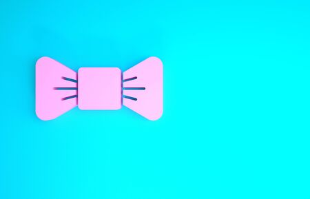 Pink Bow tie icon isolated on blue background. Minimalism concept. 3d illustration 3D render