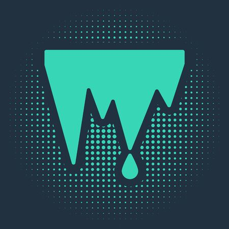 Green Icicle icon isolated on blue background. Stalactite, ice spikes. Winter weather, snow crystals. Abstract circle random dots. Vector Illustration Illustration