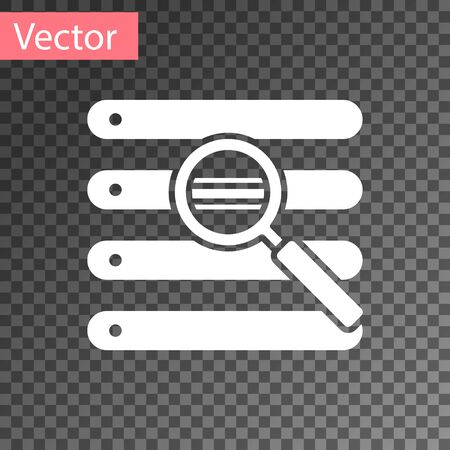 White Search in a browser window icon isolated on transparent background.  Vector Illustration