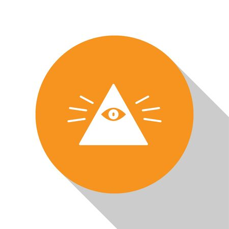 White Masons symbol All-seeing eye of God icon isolated on white background. The eye of Providence in the triangle. Orange circle button. Vector Illustration